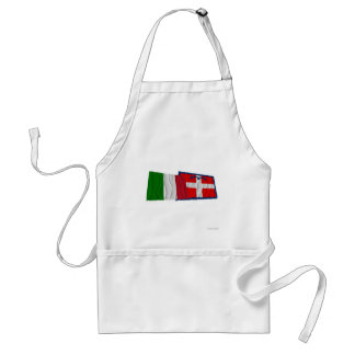 Italy and Piemonte waving flags Adult Apron