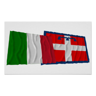 Italy and Piemonte waving flags Posters