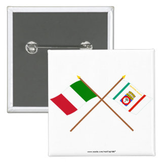 Italy and Puglia crossed flags Pinback Button