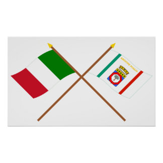 Italy and Puglia crossed flags Poster