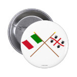 Italy and Sardegna crossed flags Button