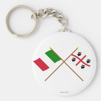 Italy and Sardegna crossed flags Keychain