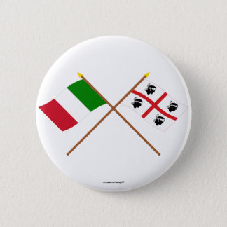 Italy and Sardegna crossed flags Pinback Button