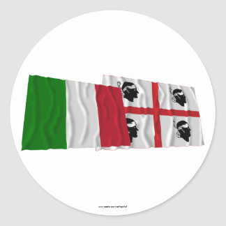 Italy and Sardegna waving flags Stickers