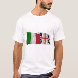 Italy and Sardegna waving flags T-Shirt