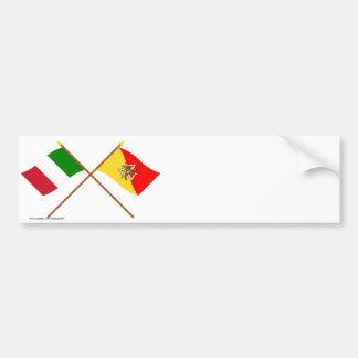 Italy and Sicilia crossed flags Bumper Sticker