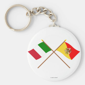 Italy and Sicilia crossed flags Key Chains
