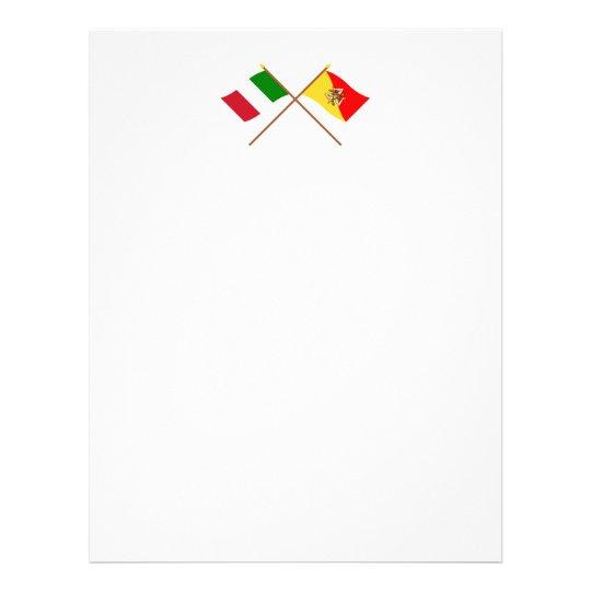 Italy and Sicilia crossed flags Letterhead