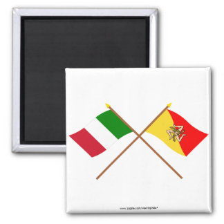 Italy and Sicilia crossed flags Magnet