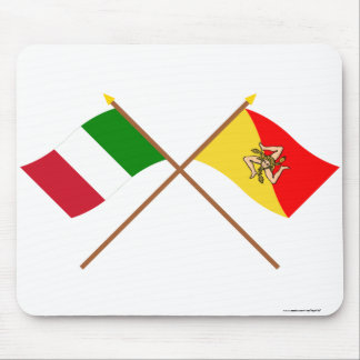 Italy and Sicilia crossed flags Mousepad