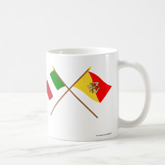 Italy and Sicilia crossed flags Mugs