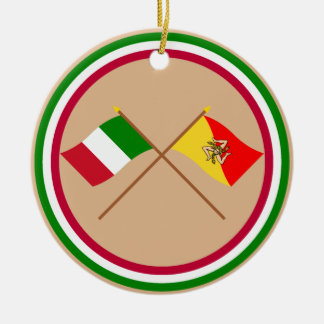 Italy and Sicilia crossed flags Christmas Ornament