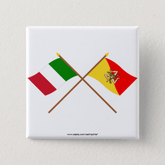 Italy and Sicilia crossed flags Pinback Button