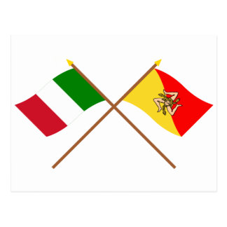 Italy and Sicilia crossed flags Postcard