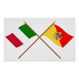 Italy and Sicilia crossed flags Posters