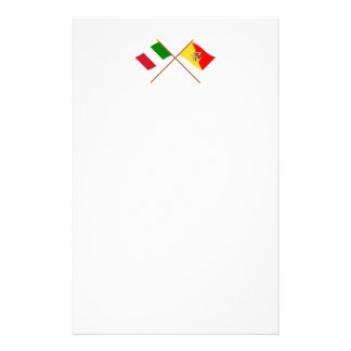 Italy and Sicilia crossed flags Custom Stationery