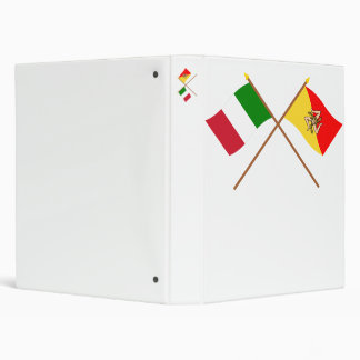 Italy and Sicilia crossed flags Vinyl Binder