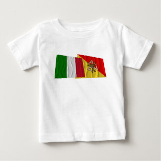 Italy and Sicilia waving flags Baby T-Shirt