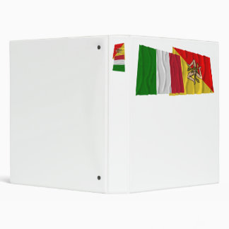 Italy and Sicilia waving flags Binders
