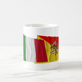 Italy and Sicilia waving flags Coffee Mugs