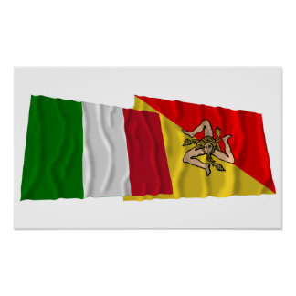 Italy and Sicilia waving flags Posters