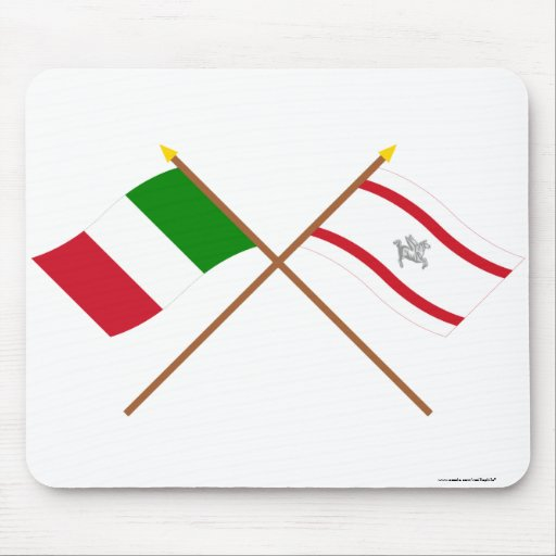 Italy and Toscana crossed flags Mousepads