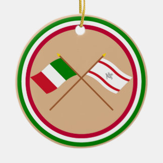 Italy and Toscana crossed flags Ornament