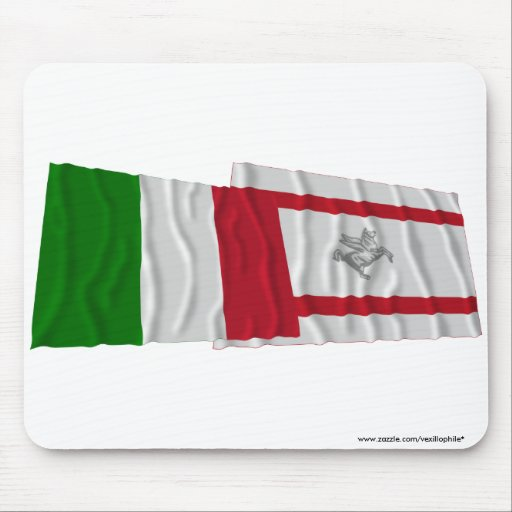 Italy and Toscana waving flags Mousepad