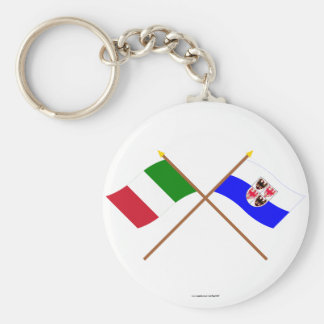 Italy and Trentino-Alto Adige crossed flags Keychain