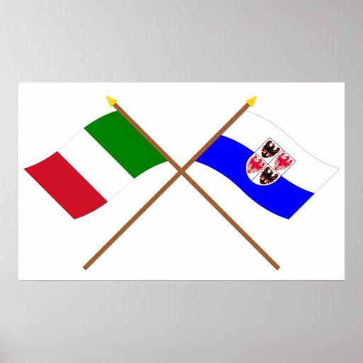 Italy and Trentino-Alto Adige crossed flags Print