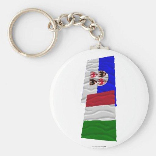 Italy and Trentino-Alto Adige waving flags Keychain