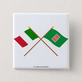 Italy and Umbria crossed flags Pinback Button