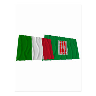 Italy and Umbria waving flags Postcard
