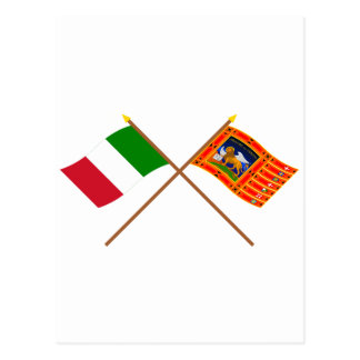 Italy and Veneto Crossed Flags Postcard