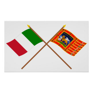 Italy and Veneto Crossed Flags Posters