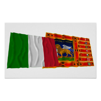 Italy and Veneto waving flags Posters