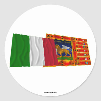 Italy and Veneto waving flags Classic Round Sticker