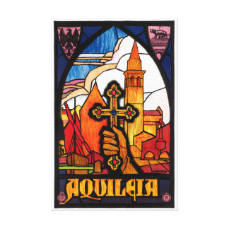 Italy Aquileia Restored Vintage Travel Poster Canvas Print