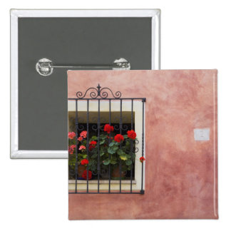 Italy, Asciano, Window Boxes with Fresh Spring Pinback Button