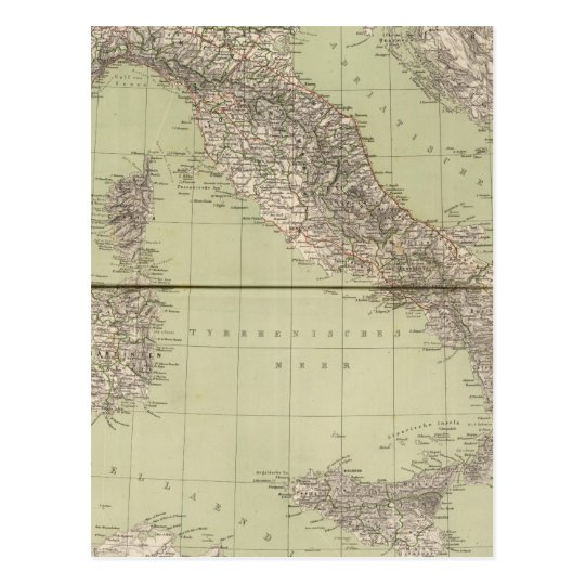 Italy Atlas Map Postcard