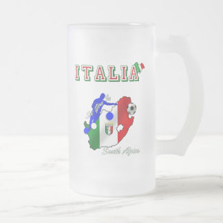 Italy Azzurri in South Africa soccer fans gear Frosted Glass Beer Mug