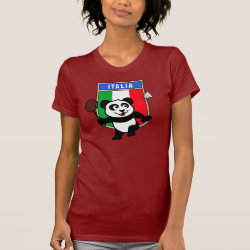 Women's American Apparel Fine Jersey Short Sleeve T-Shirt with Italy Badminton Panda design