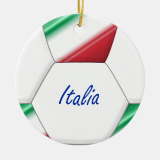 ITALY ball SOCCER of national team and flag Ceramic Ornament