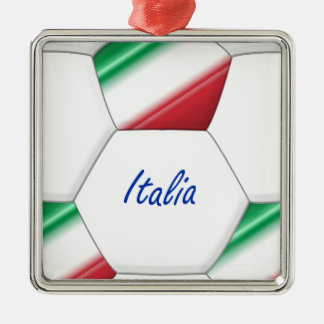 ITALY ball SOCCER of national team and flag Metal Ornament