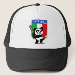 Trucker Hat with Italy Baseball Panda design