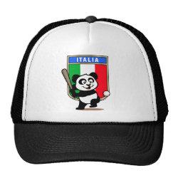 Trucker Hat with Italy Baseball Panda design