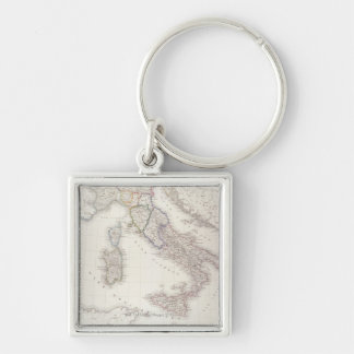 Italy Before Unification Silver-Colored Square Keychain