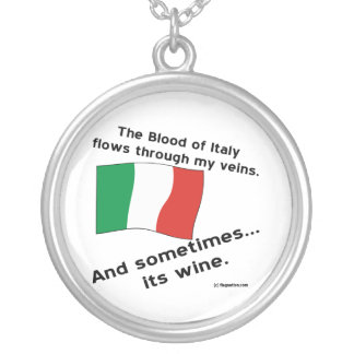 Italy Blood Wine Silver Plated Necklace