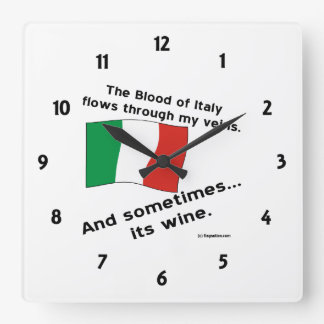 Italy Blood Wine Square Wall Clock