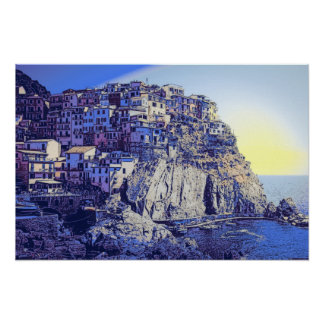 ITALY BLUE MEDITTERANEAN POSTER